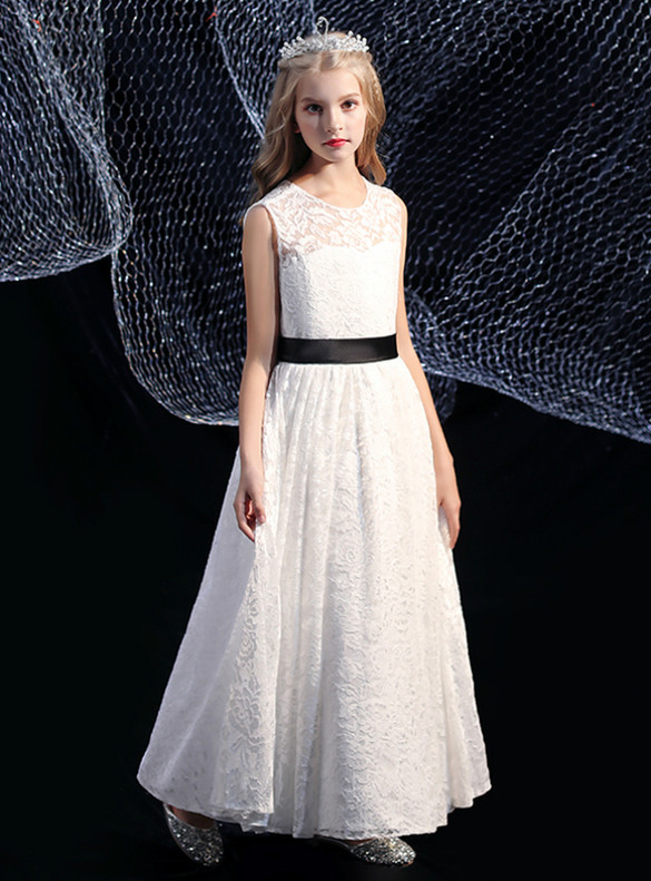 White Lace Flower Girl Dress With Black Sash
