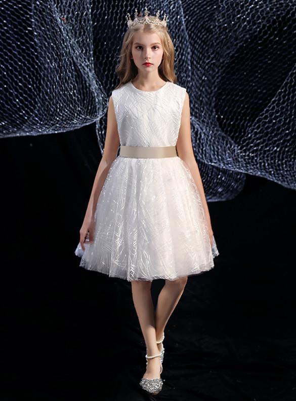 White Tulle Knee Length Flower Girl Dress