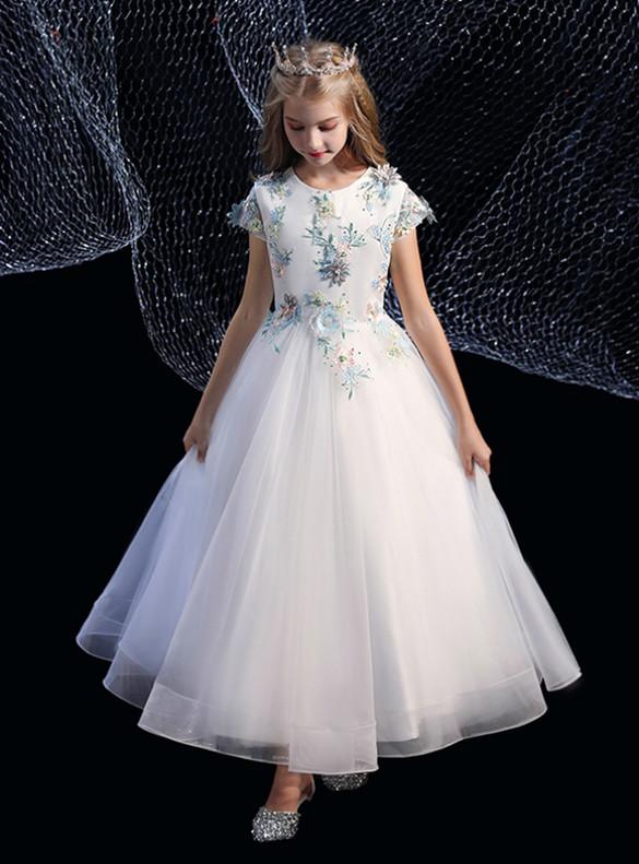 White Tulle Blue Appliques Cap Sleeve Flower Girl Dress