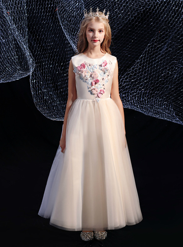 Champagne Tulle Blue Pink Appliques Flower Girl Dress