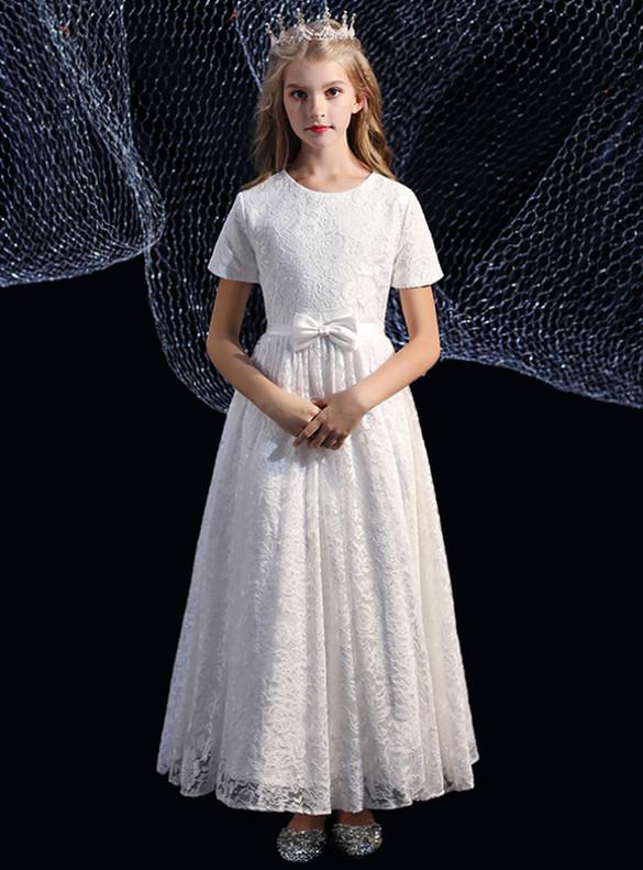 White Lace Short Sleeve Flower Girl Dress
