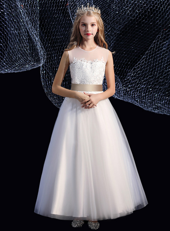 White Tulle Appliques Flower Girl Dress With Champagne Sash