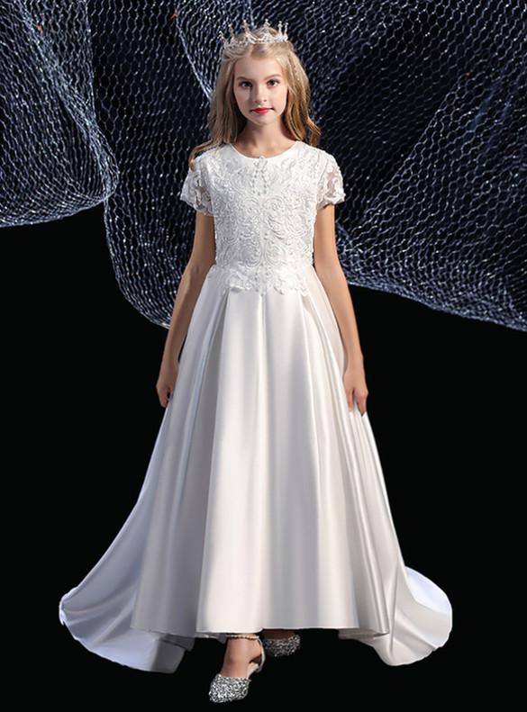 White Satin Appliques Cap Sleeve Flower Girl Dress