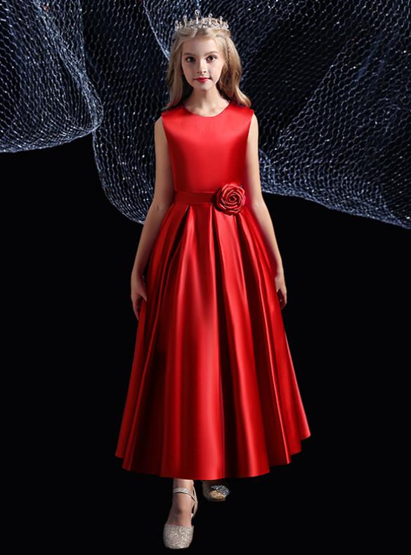Burgundy Satin Scoop Neck Flower Girl Dress