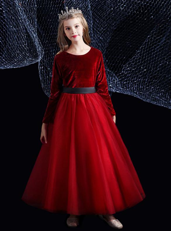 Burgundy Tulle Velvet Long Sleeve Flower Girl Dress With Black Sash