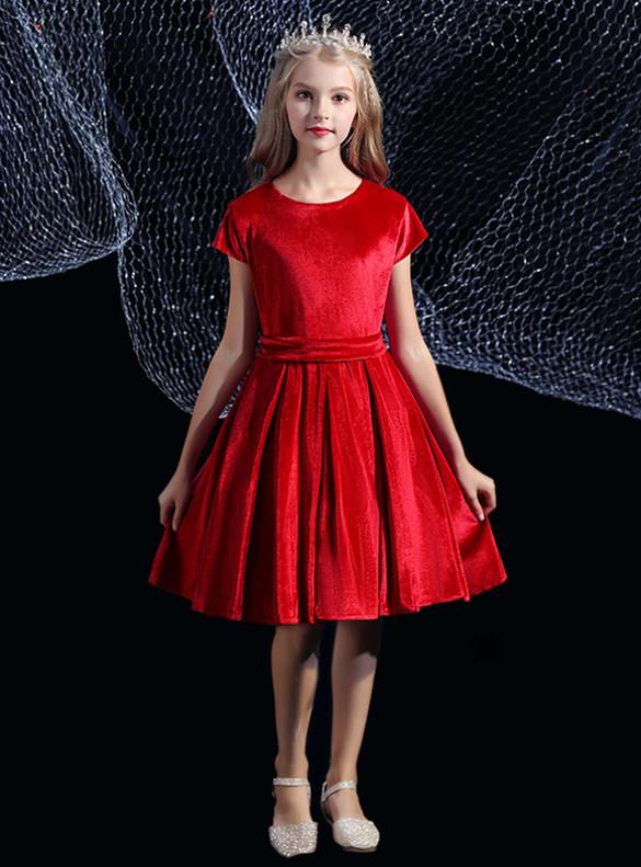 Burgundy Velvet Cap Sleeve Flower Girl Dress