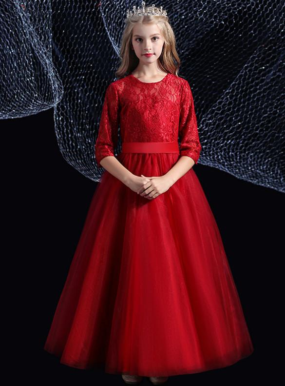 3/4 Sleeve Burgundy Tulle Lace Flower Girl Dress