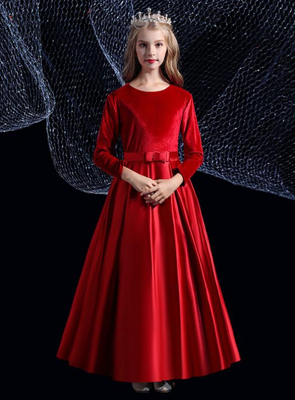 Burgundy Satin Velvet Flower Girl Dress