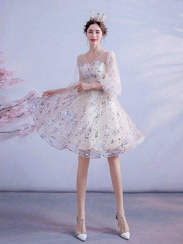 In Stock:Ship in 48 Hours Sequins Long Sleeve V-neck Homecoming Dress