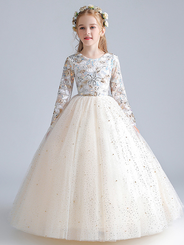 In Stock:Ship in 48 Hours Champagne Sequins Flower Girl Dress