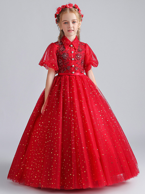 In Stock:Ship in 48 Hours Tulle Sequins Puff Sleeve Flower Girl Dress