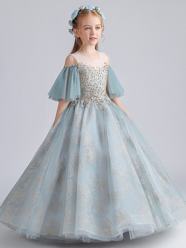 In Stock:Ship in 48 Hours Ball Gown Tulle Sequins Appliques Flower Girl Dress