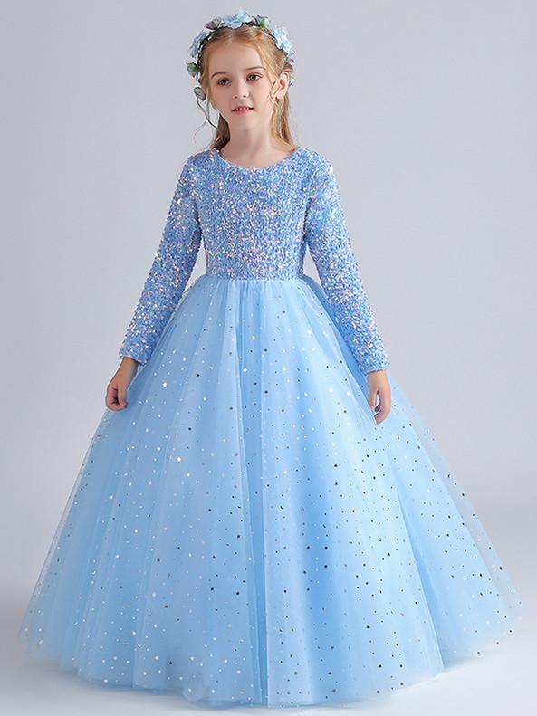 In Stock:Ship in 48 Hours Sky Blue Long Sleeve Sequins Flower Girl Dress