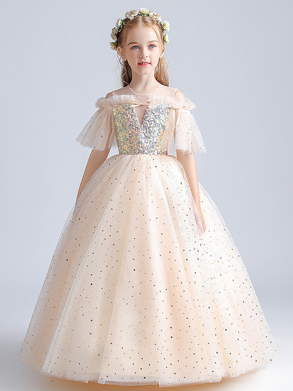 In Stock:Ship in 48 Hours Princess Tulle Sequins Flower Girl Dress