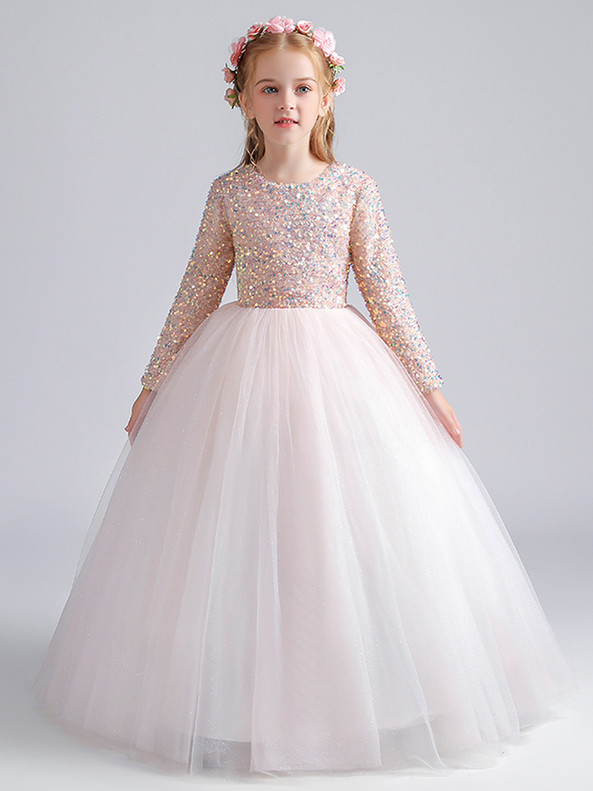 In Stock:Ship in 48 Hours Pink Sequins Tulle Long Sleeve Flower Girl Dress