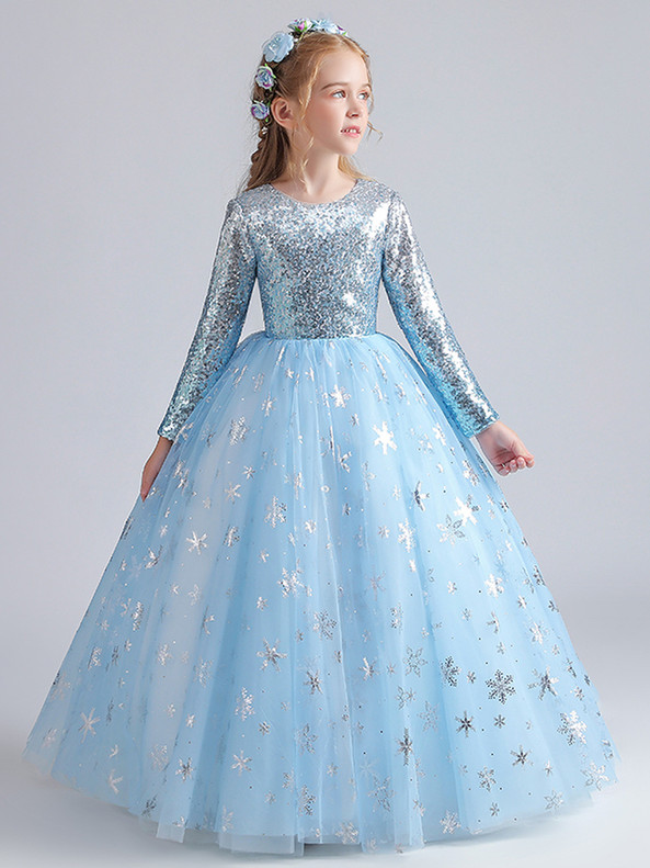 In Stock:Ship in 48 Hours Tulle Sequins Snow flakeFlower Girl Dress
