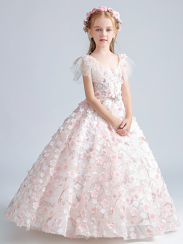 In Stock:Ship in 48 Hours Pink 3D Appliques Flower Girl Dress