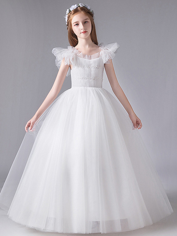 In Stock:Ship in 48 Hours White Tulle Pleats Flower Girl Dress