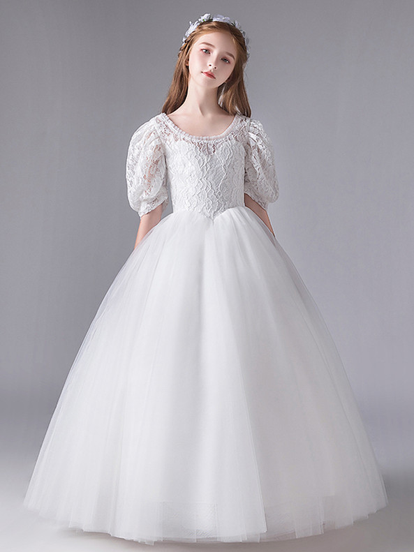 In Stock:Ship in 48 Hours White Lace Tulle Puff Sleeve Flower Girl Dress