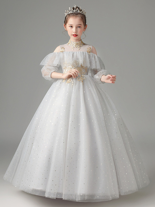 In Stock:Ship in 48 Hours Gray High Neck Appliques Flower Girl Dress