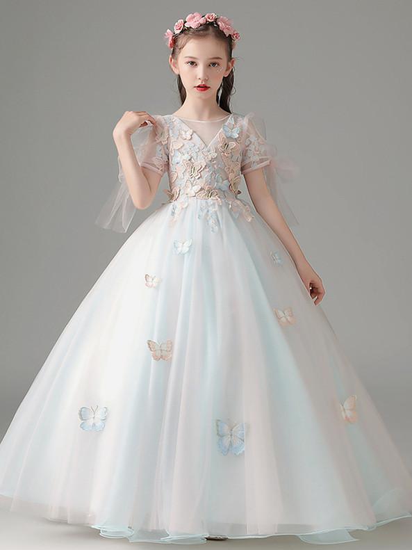 In Stock:Ship in 48 Hours Short Sleeve Butterfly Appliques Flower Girl Dress