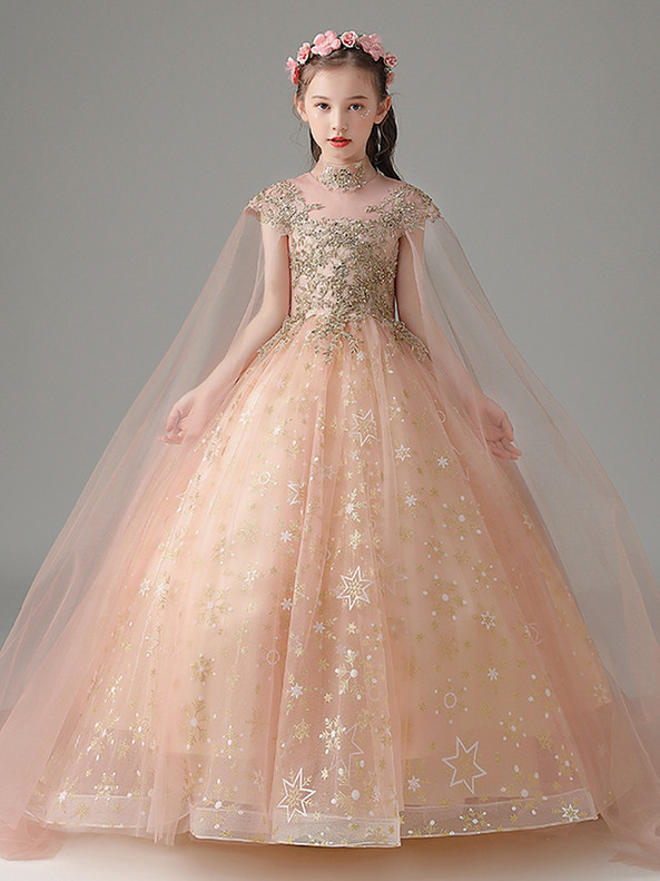 In Stock:Ship in 48 Hours High Neck Appliques Beading Flower Girl Dress