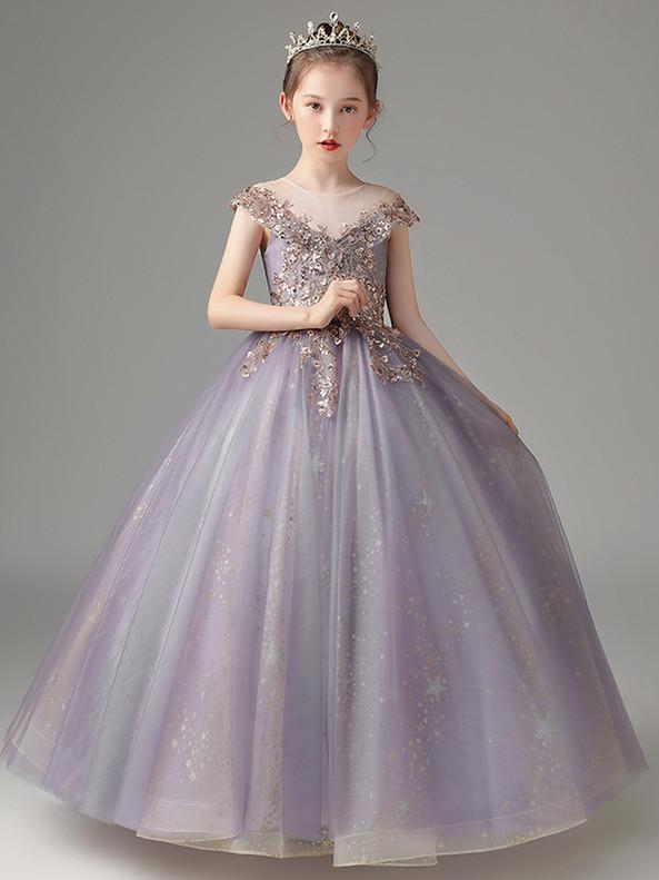 In Stock:Ship in 48 Hours Purple Sequins Cap Sleeve Flower Girl Dress