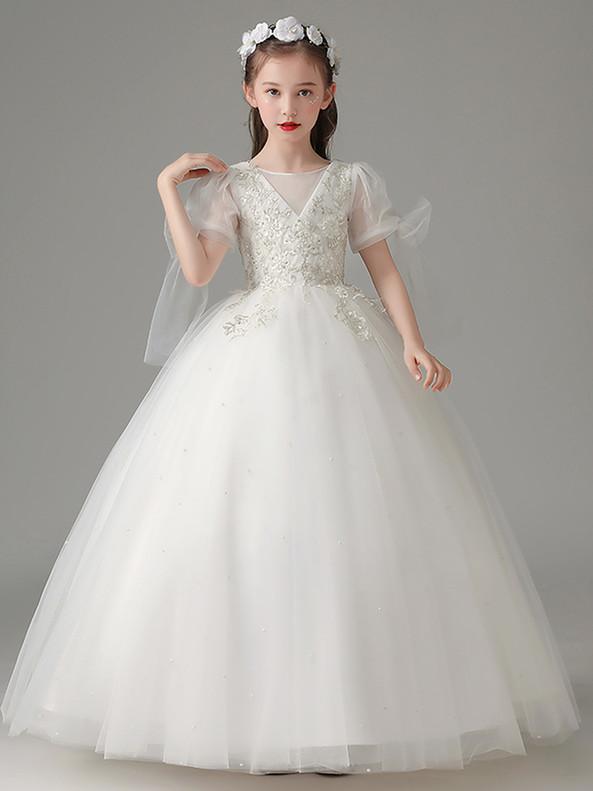 In Stock:Ship in 48 Hours White Short Sleeve Flower Girl Dress