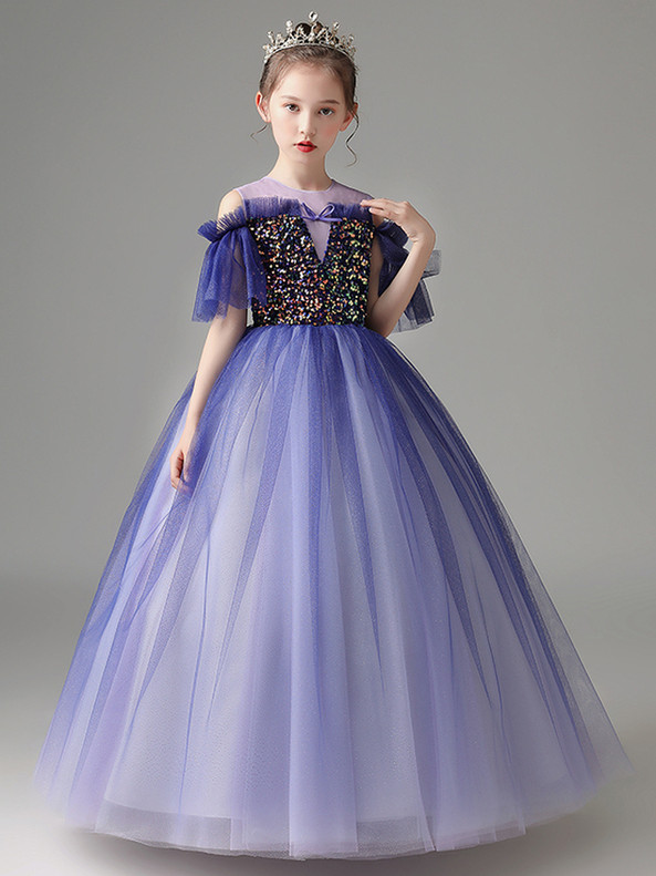 In Stock:Ship in 48 Hours Blue Scoop Tulle Sequins Flower Girl Dress