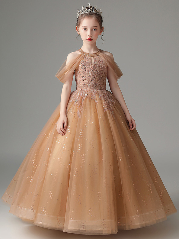 In Stock:Ship in 48 Hours Khaki Tulle Sequins Flower Girl Dress