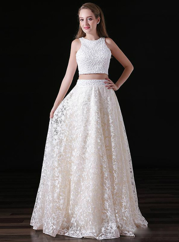 White Lace Two Piece Beading Backless Prom Dress