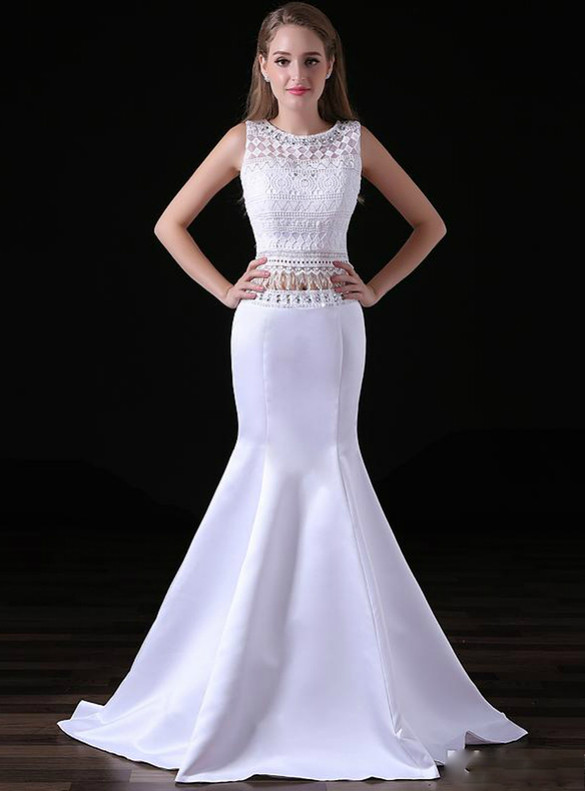 White Mermaid Satin Lace Two Piece Prom Dress