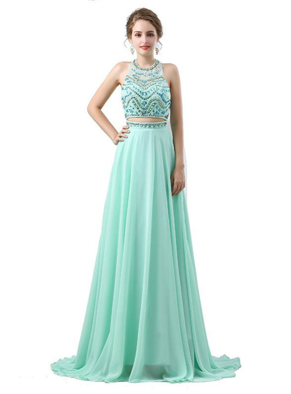 Green Chiffon Two Piece Beading Crystal Prom Dress
