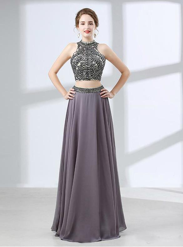 Gray Chiffon Backless Two Piece Crystal Prom Dress