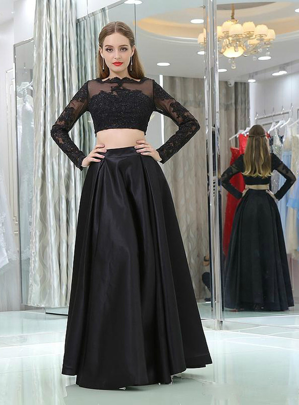 Black Two Piece Satin Appliques Long Sleeve Prom Dress