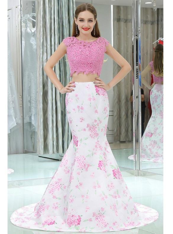 Mermaid Two Piece Satin Lace Print Prom Dress