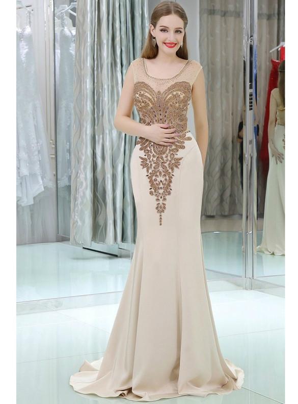 Champagne Mermaid Beading Illusion Back Prom Dress