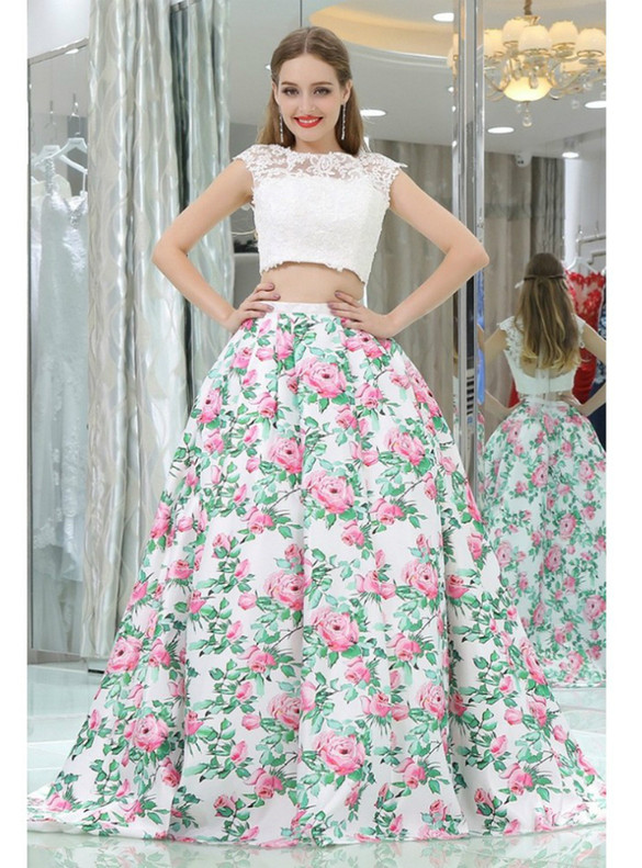 White Satin Print Two Piece Backless Prom Dress