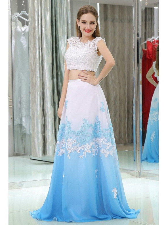 Two Color Chiffon Two Piece Appliques Prom Dress