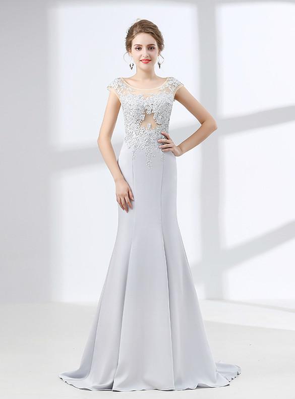 Sexy Silver Mermaid Satin Appliques Prom Dress