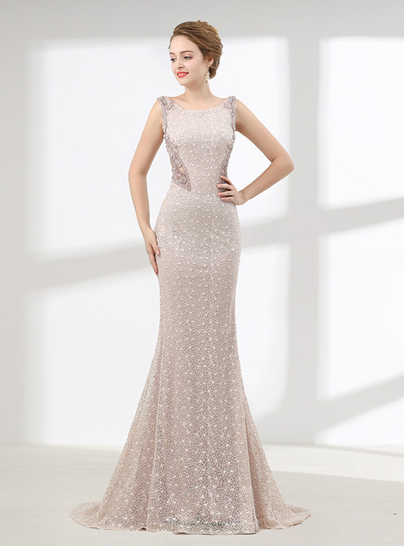 Sexy Champagne Mermaid Lace Beading Prom Dress