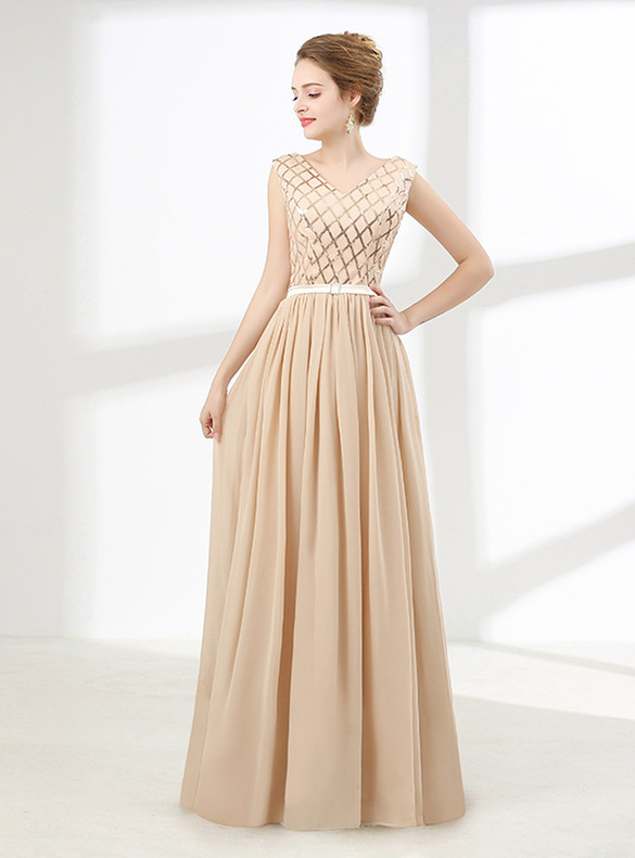 Chiffon Sequins Top V-neck Sleeve Prom Dress