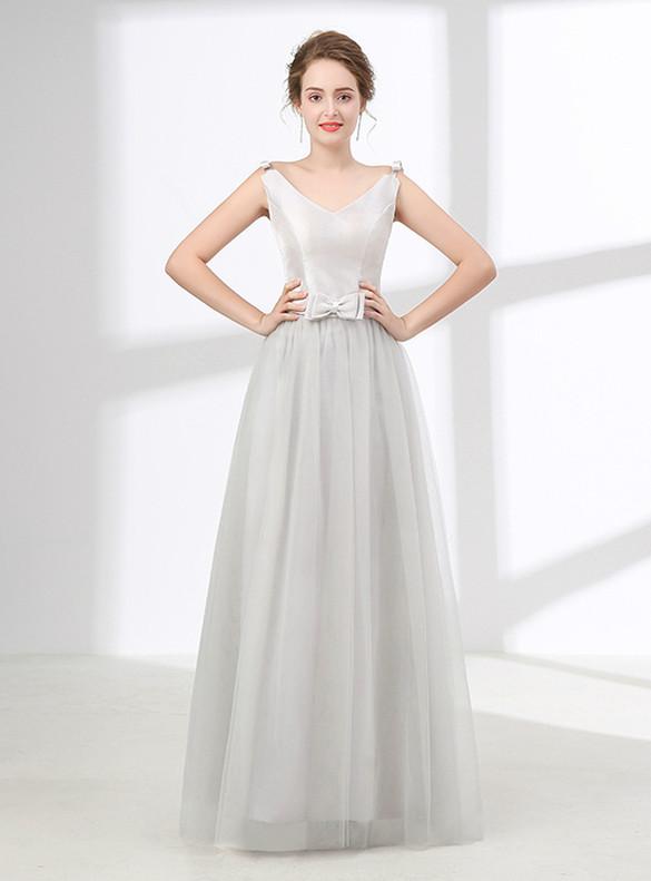 Gray Tulle V-neck Sleeveless Prom Dress With Bow