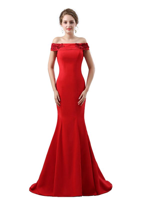 Red Mermaid Satin Appliques Beading prom Dress