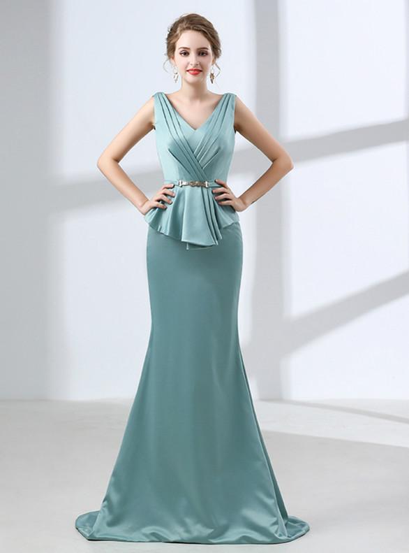 Blue Mermaid Satin V-neck Pleats Prom Dress