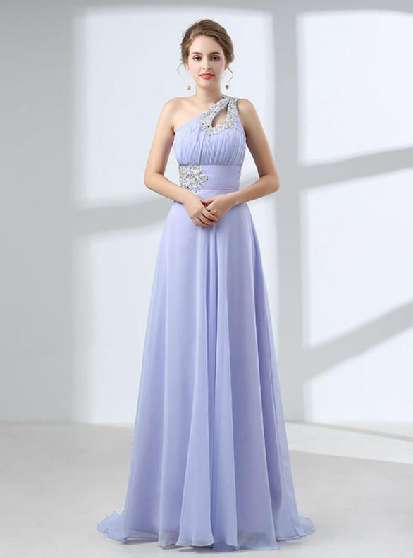 Simple Lavender Chiffon One Shoulder Pleats Beading Prom Dress