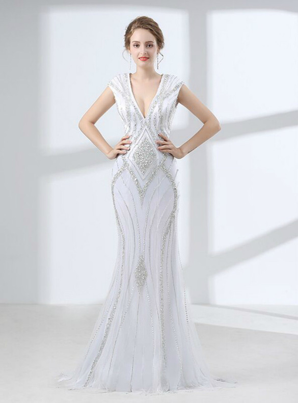 White Mermaid V-neck Beading Crystal Prom Dress