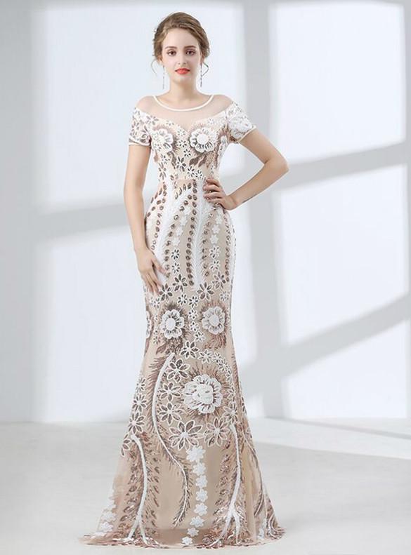 Champagne Mermaid Sequins Short Sleeve Prom Dress