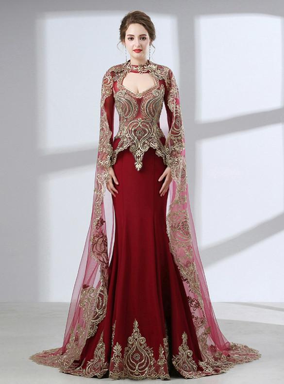 Burgundy Mermaid Appliques Long Sleeve Prom Dress With Shawl