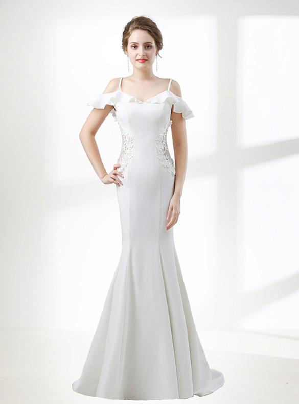 White Mermaid Spaghetti Straps Appliques Prom Dress